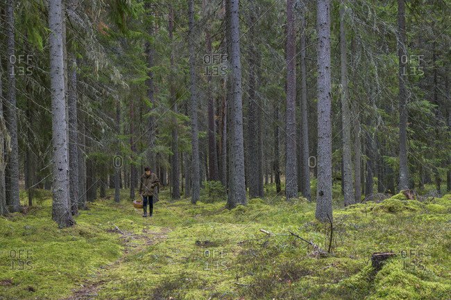 Woman carrying basket in forest