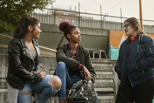 Teenage girls in park