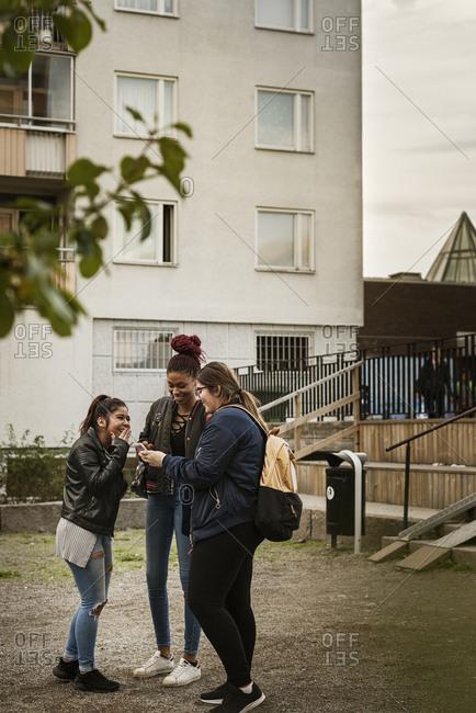 Teenage girls using smart phone in park