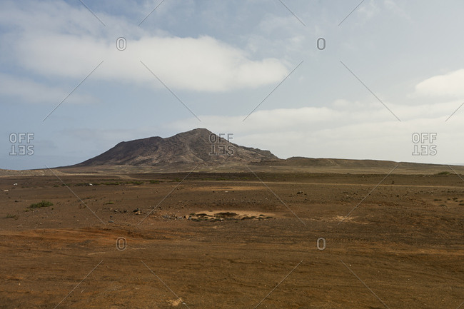 Plain with mountain behind in Cape Verde, Africa