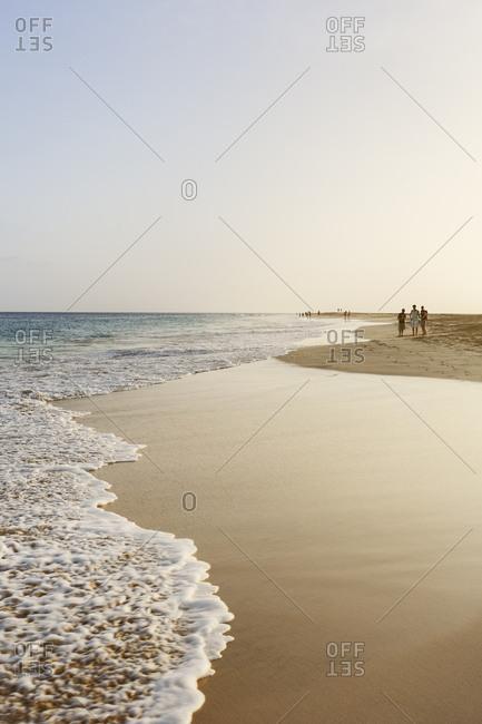 People walking on beach in Cape Verde