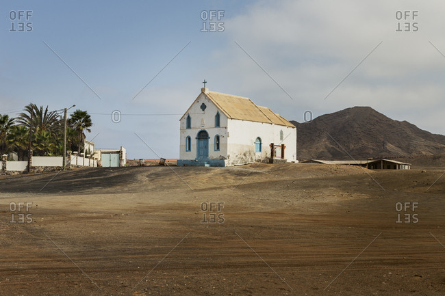 October 25, 2017: Church next to plain in Cape Verde, Africa
