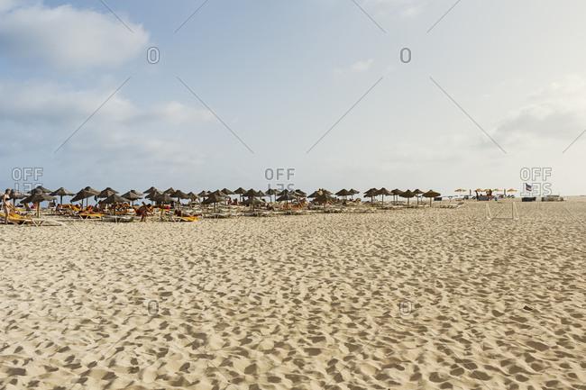 October 25, 2017: Umbrellas on beach in Cape Verde
