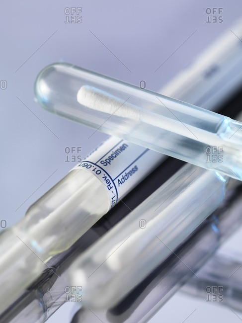 DNA (deoxyribonucleic acid) swabs used for genetic testing.