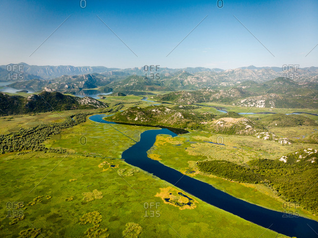 An aerial view of Lake Skadar, Montenegro, as seen from between Karuc and Dodosi.