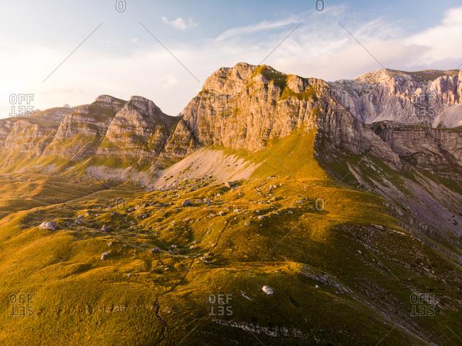 Aerial view of Durmitor mountains from Sedlo Pass (Prevoj Sedlo), Montenegro
