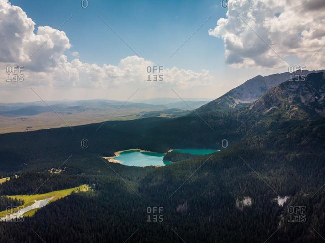 Aerial view of Black Lake (Cyrno Jezero) in Durmitor National Park, Zabljak, Montenegro