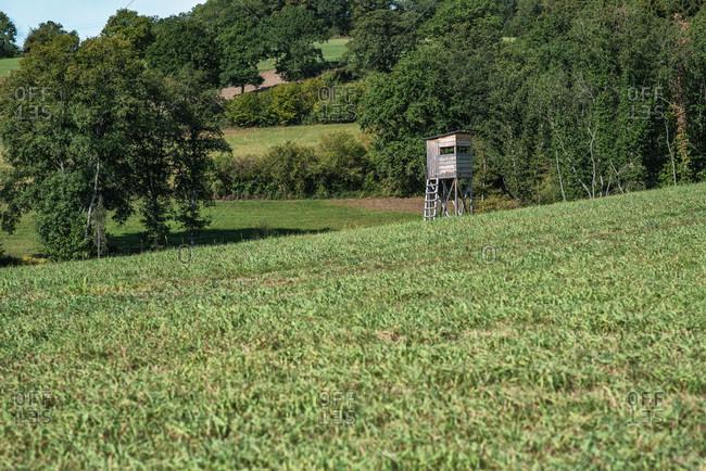 Deer blind in a field in late summer