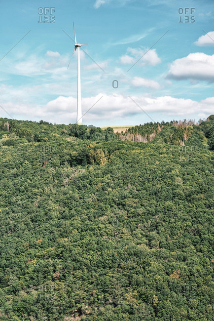 Wind turbine standing tall above a dense forest