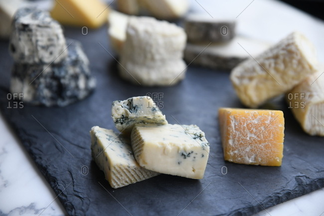 Small pieces of various cheeses