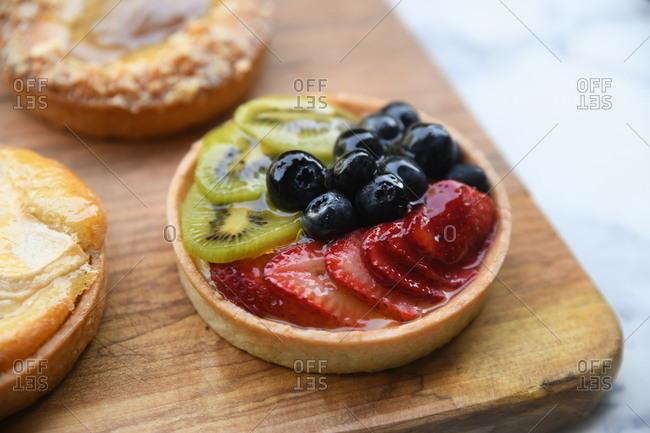 Close up of a miniature fruit tart