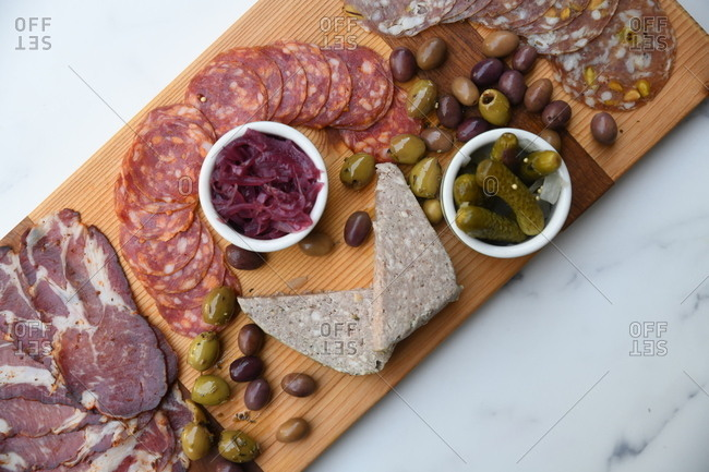 Overhead view of a charcuterie board appetizer