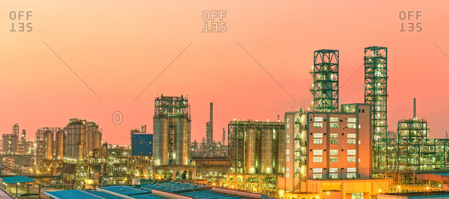 Chemical plants at night - Offset