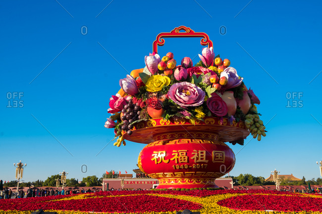 Beijing - September 11, 2019: Flower basket at Tiananmen square