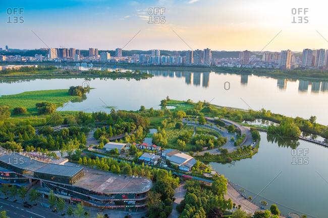 September 11, 2019: Wetland park in Suining, Sichuan