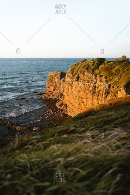 Cliffs of French coast glowing during sunset