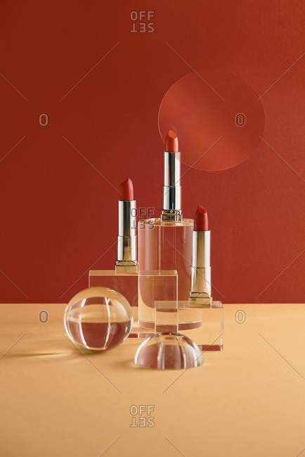 Lipsticks still-life photography, Essential beauty items.