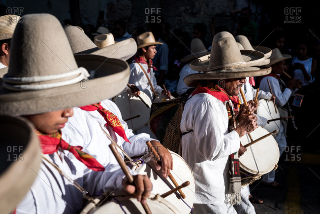 July 28, 2019: A music band performs during the Guelaguetza festival in Oaxaca, Mexico
