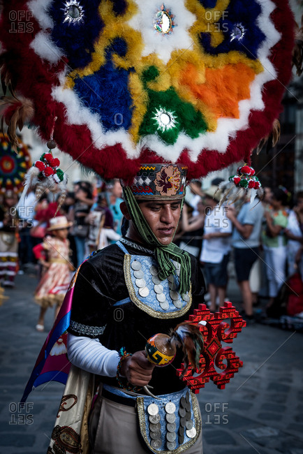 July 28, 2019: Dancers reenact Zapotec history during the Guelaguetza Festival in Oaxaca, Mexico