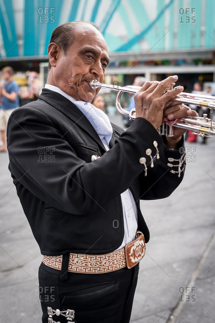 July, 23, 2019: A Mariachi playing his trumpet in Garibaldi Square, Ciudad de Mexico, Mexico