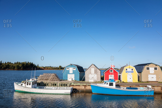 September 10, 2017: Lobster barns and fishing boats of New London, Prince Edward Island, Canada