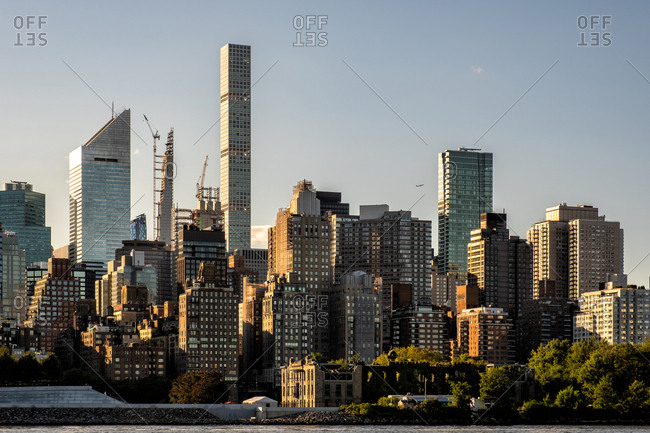 Queens NY - USA - Aug 29 2019: The buildings of midtown Manhattan view from Long Island City