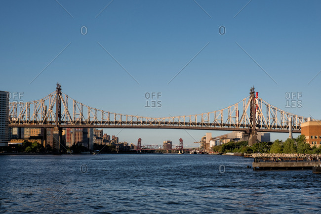 Queens NY - USA - Aug 29 2019: Ed Koch Queensboro Bridge and east river view from Long Island City