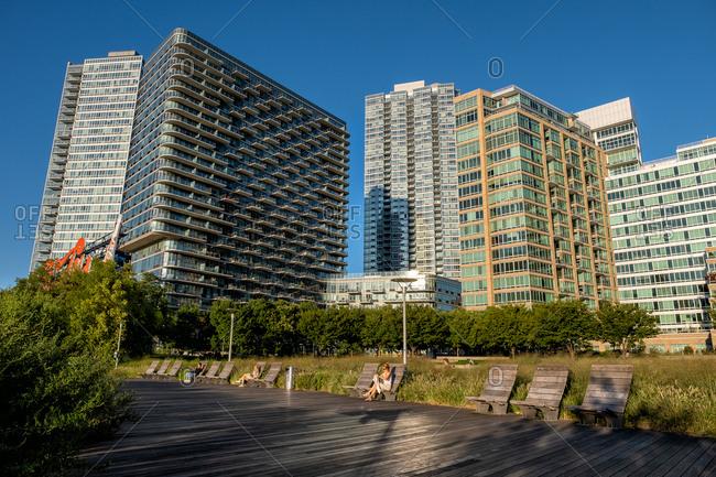 Queens NY - USA - Aug 29 2019: The buildings of Long Island City view from Gantry Plaza State Park Recreational Dock