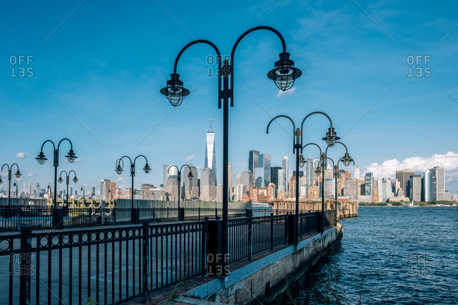 Jersey City, NJ - USA - Aug 30 2019: Liberty State Park is a park in the U.S. state of New Jersey opposite both Liberty Island and Ellis Island