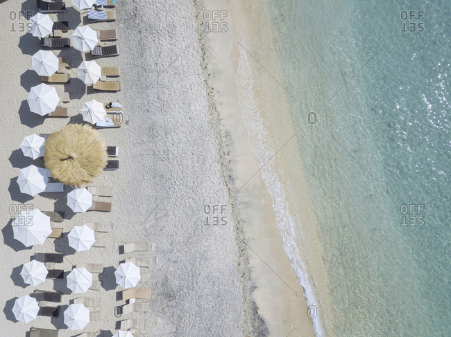 View at beach loungers from above, Gili Air island, Bali, Indonesia