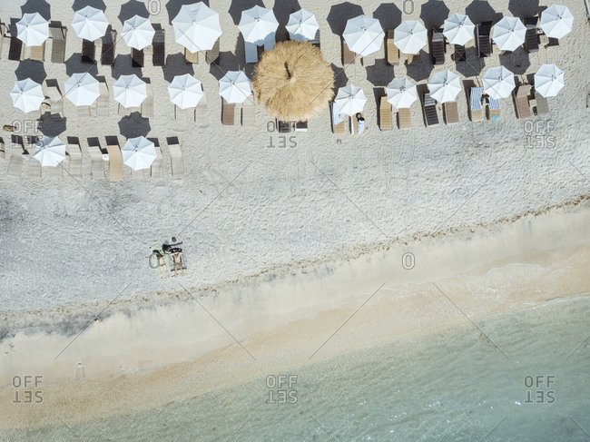 People at the beach, view from above, Gili Air island, Bali, Indonesia