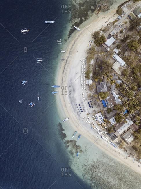 Aerial view of ocean coastline, Gili Air island, Bali, Indonesia