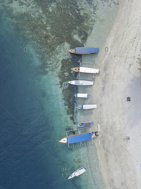Aerial view of boats at the beach, Gili Air island, Bali, Indonesia