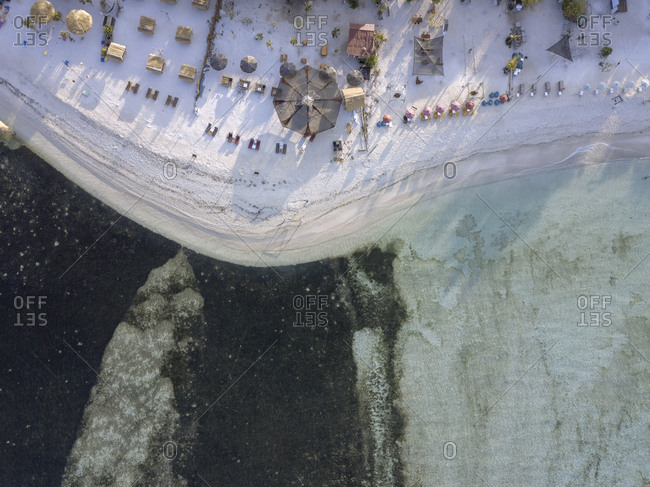 Aerial view of sun loungers, Gili Air island, Bali, Indonesia