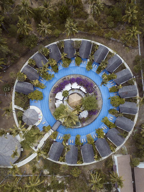 Tropical resort with pool from above, Gili Air island, Bali, Indonesia