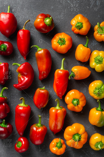 Various washed pepper on dark background