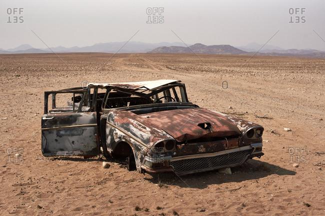Abandoned car at the Namibe Desert- Namibe- Angola