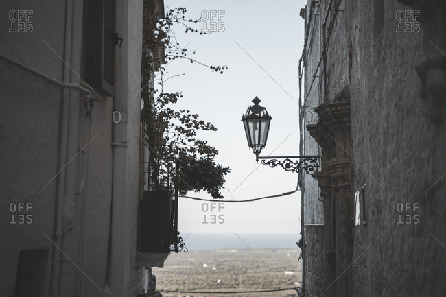 Ostuni town, detail with sea view