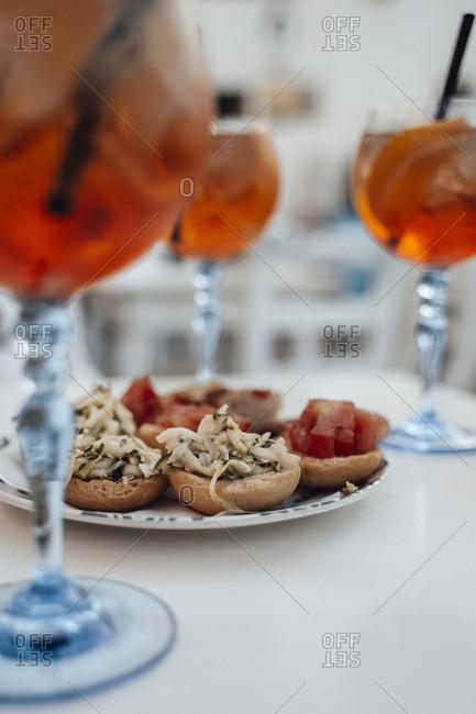 Tipical aperitif in Puglia country.