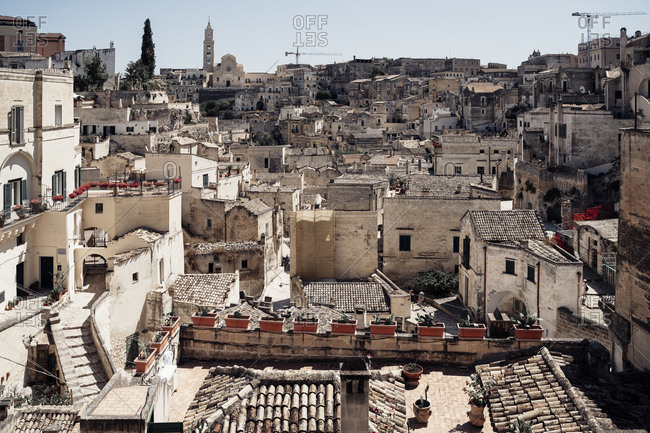 Detailed cityscape in Sassi di Matera, one of the three oldest cities in the world
