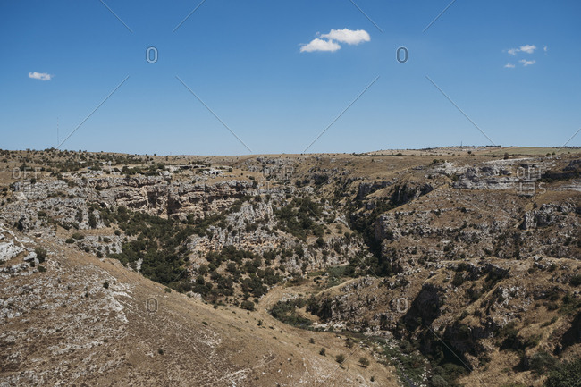 View of landscape surrounding Sassi di Matera, one of the three oldest cities in the world