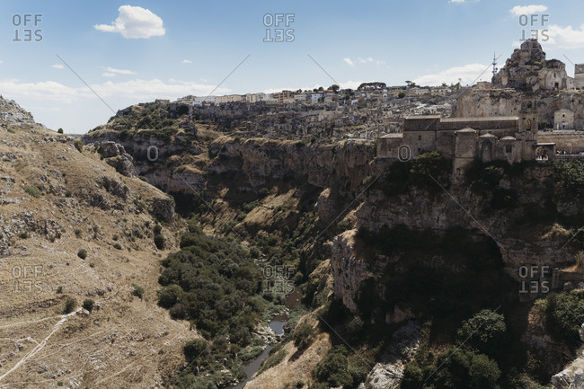 View of cliffside city Sassi di Matera, one of the three oldest cities in the world