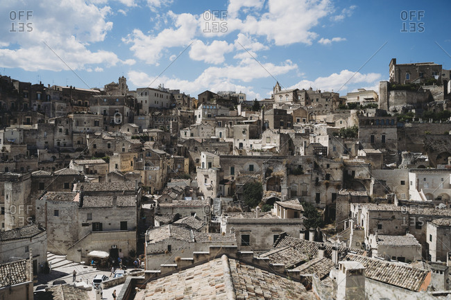 August 15, 2019: View of ancient, Sassi di Matera, one of the three oldest cities in the world
