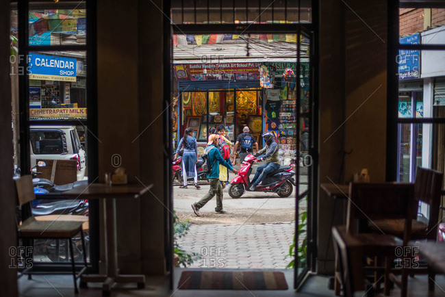 Kathmandu, Nepal, Southeast Asia - September 27, 2018: Looking out from building into busy streets in Asia