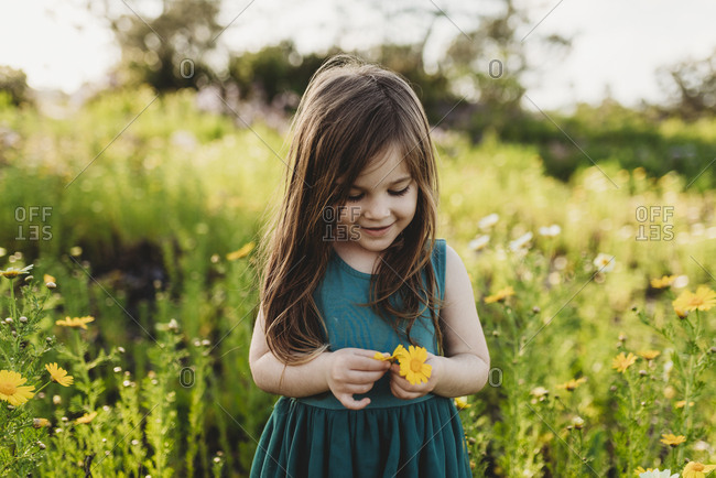 Mid-level view of little girl holding flower and smiling looking down