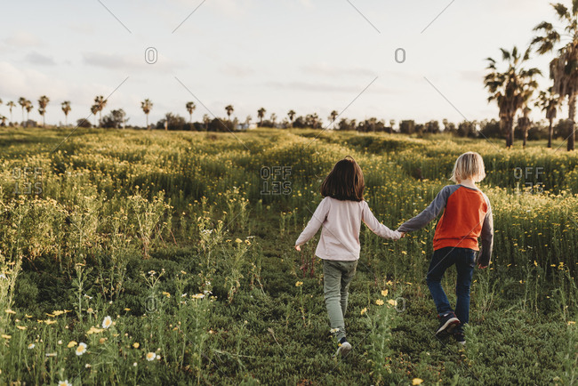 Little girl and boy holding hands walking away into a field