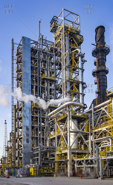 Refinery with steam and pipe racks