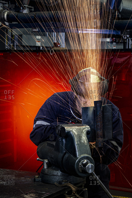 Ohio, USA - June 4, 2019: Metal grinding in a machine shop