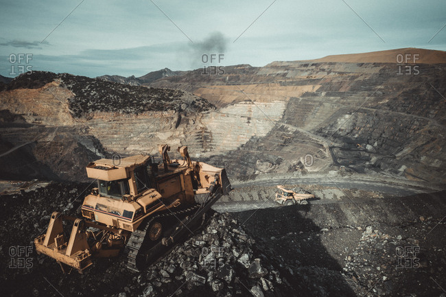 Coal tractor from aerial view
