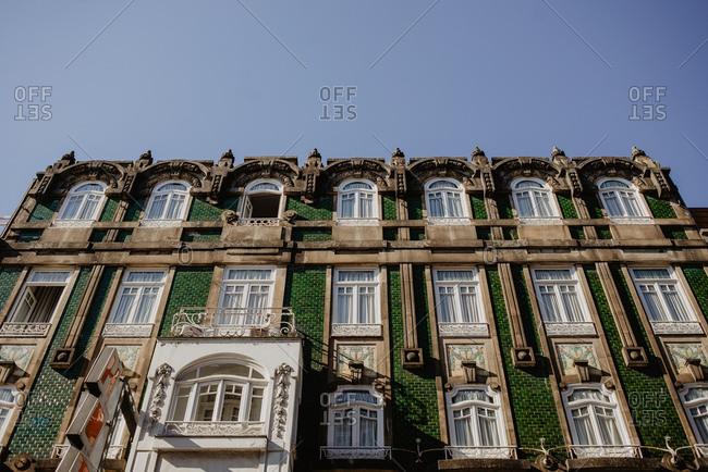 Porto, Potugal - October 18, 2018: Green tiled building
